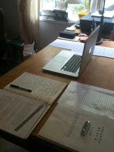 Alec's desk (I wish mine were as tidy).