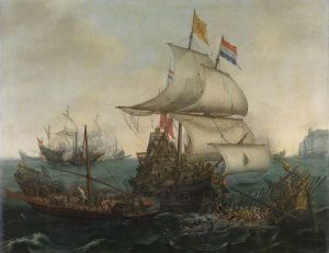 Dutch Ships Ramming Spanish Galleys off the Flemish Coast in October 1602 by Vroom Hendrick Cornelisz (Source: Wikipedia Commons)